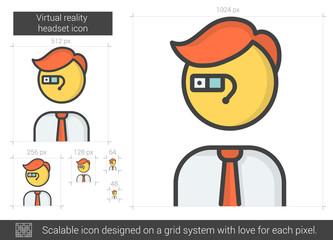Virtual reality headset line icon.