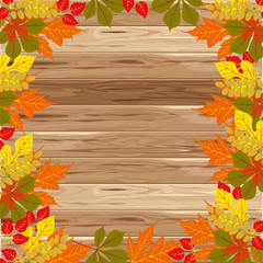 Autumn frame on wood background. Vector illustration. Floral vector pattern. Fashion Graphic Design. Beauty concept. Bright colors leaves. Template for prints, textile, wrapping and decoration.