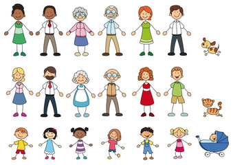Menschen unterschiedlichen alters und Hautfarbe