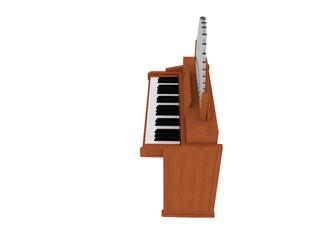 wooden harmonium isolated 3D illustration