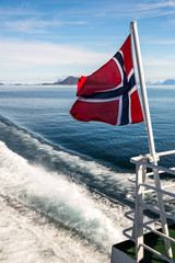 Norway flag in motion on a boat.