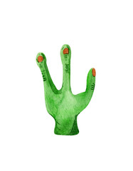 Hand drawn watercolor alien hand for Halloween:)