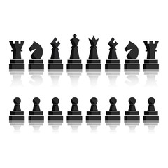 Black chess icons set. Chess board figures. Vector illustration chess pieces. Nine different objects including king, queen, bishop, knight, rook, pawn.