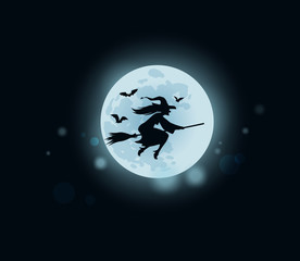 Old witch flying on broomstick at midnight. Vector illustration