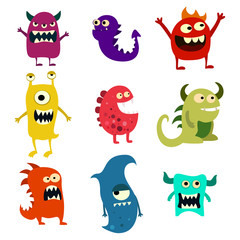 Doodle monsters set. Colorful toy cute alien monster. Vector