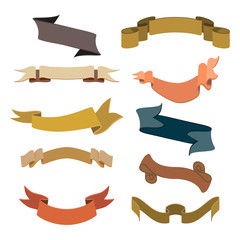 Set of retro ribbons and labels collection. Vector illustration
