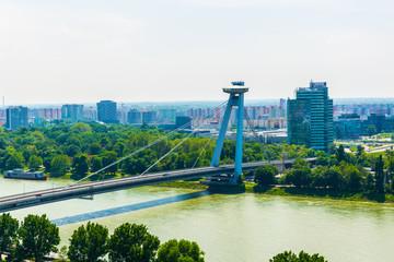 aerial view of the SNP bridge in Bratislava, Slovakia