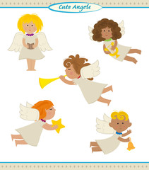 Cute Angels - Vector set of five cute angels doing different things. Eps10