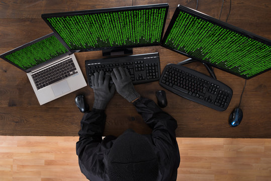 Robber Hacking Computers And Laptop
