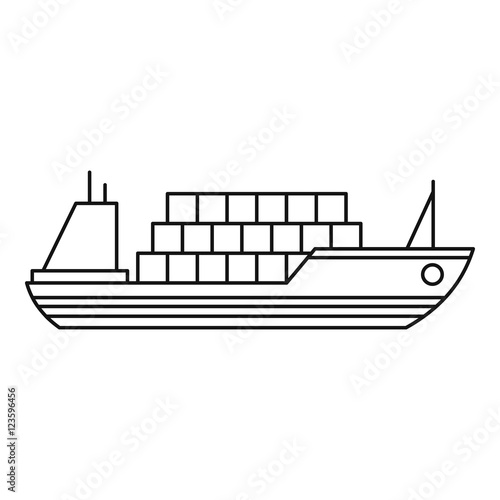 """Ship with cargo icon. Outline illustration of cargo ship ..."