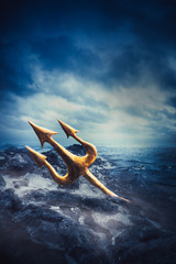 High contrast image of Poseidon's trident at sea