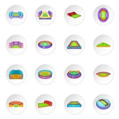 Sport stadium icons set. Cartoon illustration of 16 sport stadium vector icons for web