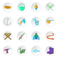Fishing icons set. Cartoon illustration of 16 fishing vector icons for web