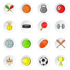 Sport equipment icons set. Cartoon illustration of 16 sport equipment vector icons for web