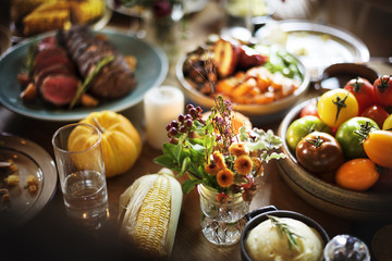 Tomatoes Corn Food Thanksgiving Table Setting Concept