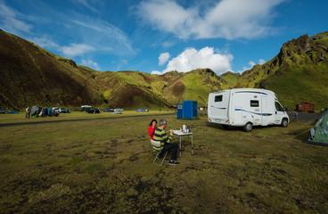 In de dag Kamperen Camp in Southern Iceland