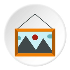 Picture with mountains and sun icon. Flat illustration of picture with mountains and sun vector icon for web