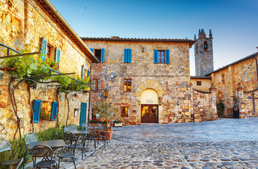 Monteriggioni ancient historical city square, Italy.