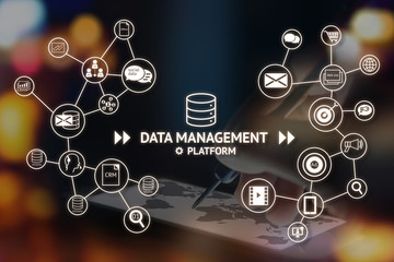 Data Management Platform (DMP) concept. Infographic , texts and icons on abstract arrow dart point to smart phone with map screen with flare light background. Marketing and crm concept Wall mural