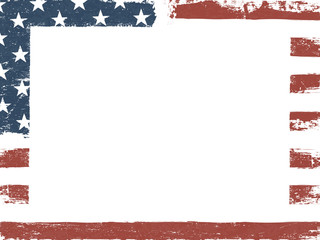 Empty white grunge canvas on american flag background. Patriotic