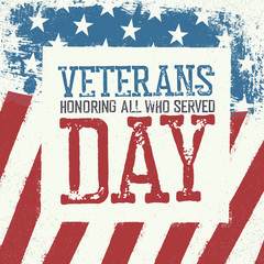 Veterans day typography on american flag background. Patriotic p