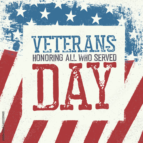 Veterans Day Typography On American Flag Background Patriotic P