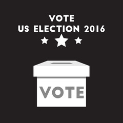 Voting for US election 2016 design cartoon and flat illustration election ballot boxes