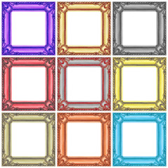 set of colorful wooden frames isolated on white
