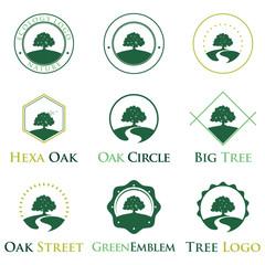 Elegant Green Ecology Oak Tree Logo Identity Bundle Set