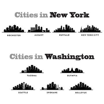 Skyline New York and Washington, City - Silhouette