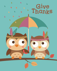 Couple of american indian owls cartoon for thanksgiving card design