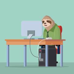 sloth sleep while work
