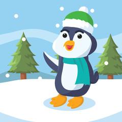 penguin on snow vector illustration design