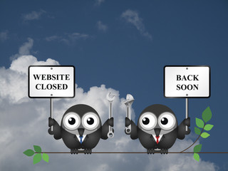 Comical website maintenance closed back soon message
