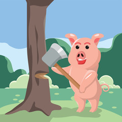 pig cutting tree vector illustration design