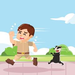 honey badger chasing boy