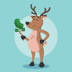 deer eating vector illustration design