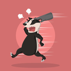 angry honey badger vector illustration design