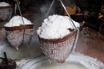 Old traditional rock salt making in Nan province, Thailand