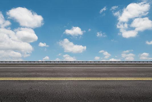 roadside with blue sky background