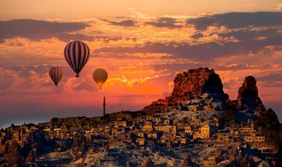 Hot air balloon flying over spectacular Cappadocia Wall mural