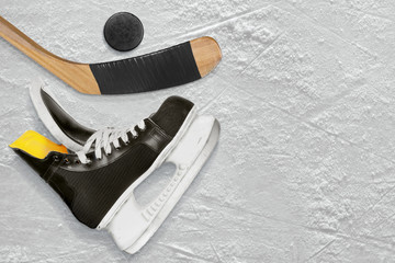 Hockey sticks, skate and puck