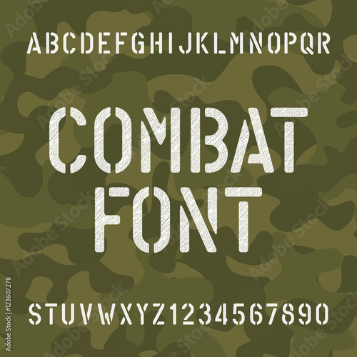 Combat alphabet font  Scratched type letters and numbers on