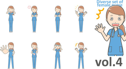 Diverse set of female nurse , EPS10 vector format vol.4