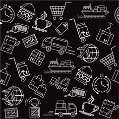 food delivery seamless pattern on the black background