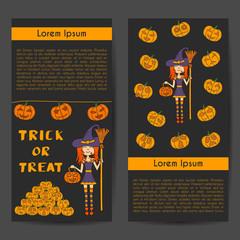 Vector cartoon hand drawn Halloween witch