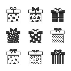 Gift boxes vector icons set in black and white