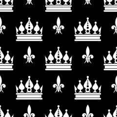 Vector crowns fleur de lis seamless pattern in black and white