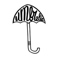 Umbrella with an inscription