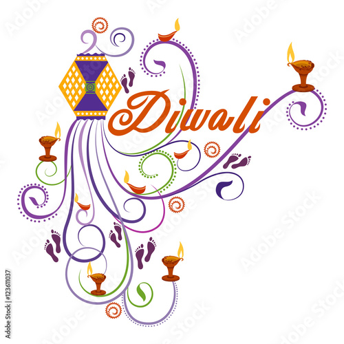 Quot happy diwali typography in calligraphy style for festival
